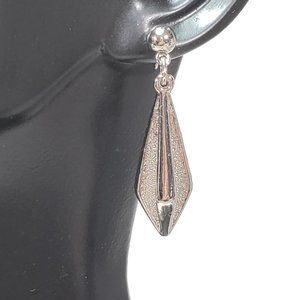 Geometric Silver Tone Drop Earrings Dangles